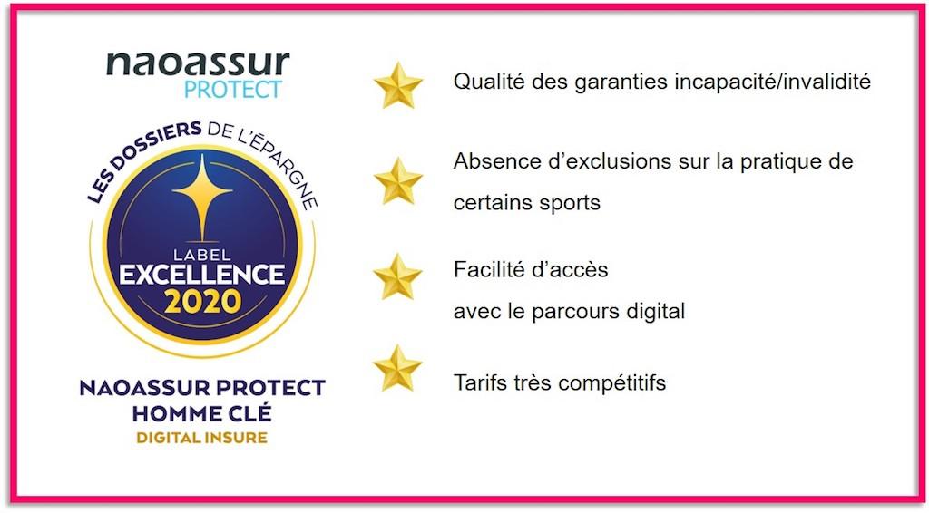 Naoassur Protect Homme Clé reçoit le Label d'Excellence 2020